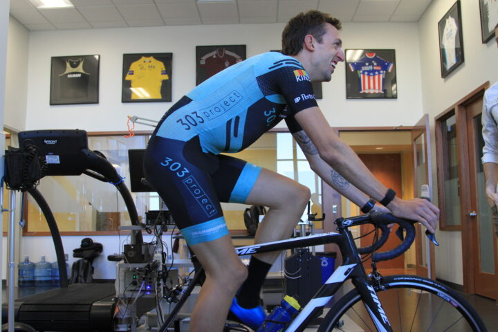 Isaiah Newkirk indoor cycling at CU physiology testing laboratory
